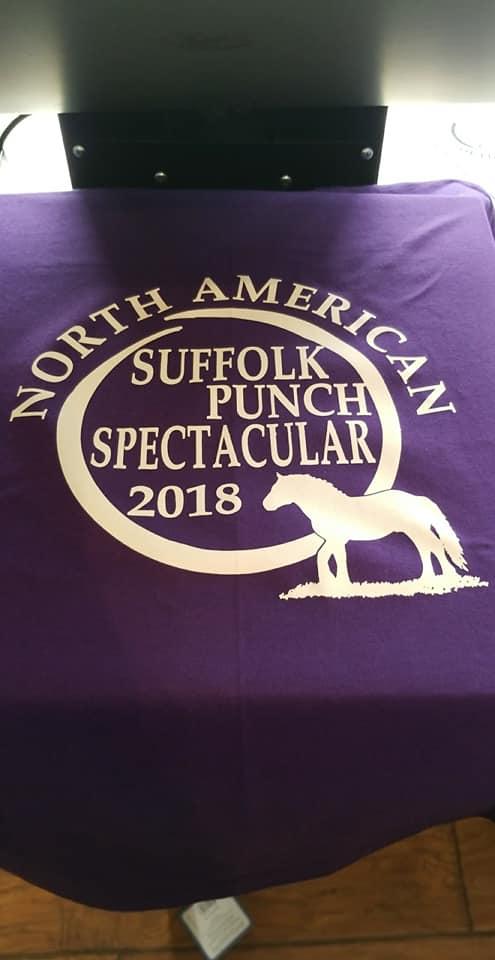 purple tshirt on press